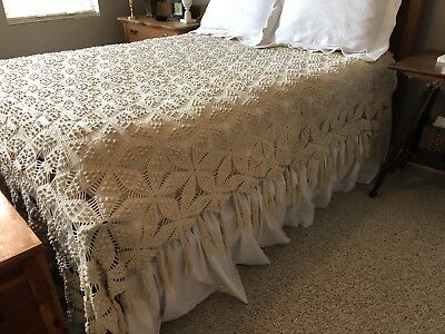 Vintage Bedspread Coverlet Crochet Lace Popcorn Handmade Bed Cover Afghan Throw