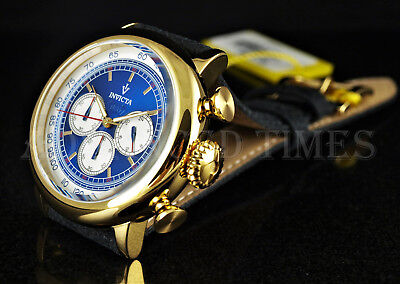 Invicta Men's 48mm VINTAGE 18K Gold Plated Chronograph Blue Dial Leather Watch