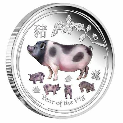 Australian Lunar Series Ii 2019 Year Of The Pig – 1 Oz Silver Proof Color Coin