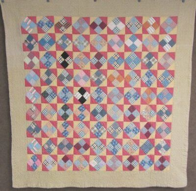 Farmhouse PA c 1900 Four Patch ANTIQUE Quilt Hour Glass