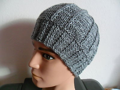 Knitting pattern - Quick & easy Mens size aran weight beanie hat 2 designs .