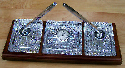 Waterford Executive Desk Set Crystal Pen Holders Paperweight Clock In Wood Base