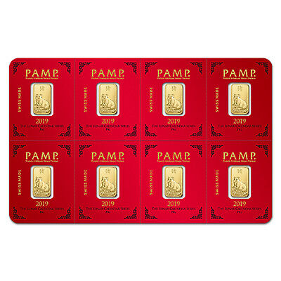 8x1 gram Gold Bar PAMP Suisse Lunar Pig Multigram+8 (In Assay) - SKU#173460
