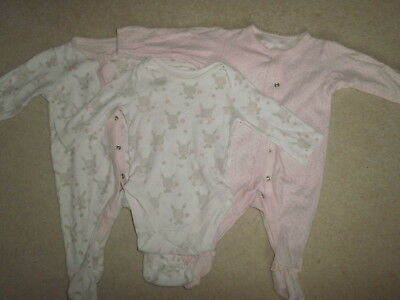 2 x Mothercare Baby Girl's Pink & White Sleepsuits and long sleeved top up to 3M