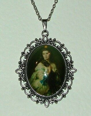Large Glass Cameo Lady With Long Hair Victorian Style Dark Silver Plated Pendant
