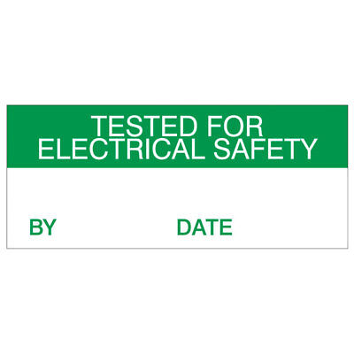 Tested For Electrical Safety Labels Green On Nylon Cloth 38 x 15mm Pack Of 140