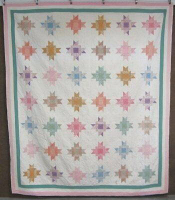 Very Large! c 1930s Star VINTAGE Quilt Hands Around Feedsacks 102 x 88