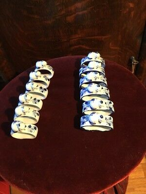 Antique Cobalt Blue Bone China Kitten Porcelain Ceramic Napkin Ring Holder Rare