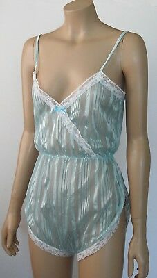 VINTAGE 70s NYLON SEE THRU  PLAYSUIT BLUE SIZE W
