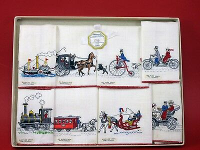 Vintage Box Set Of 8 Rare Embroidered Hankies Train Auto Bike Boat Carriage Xlt