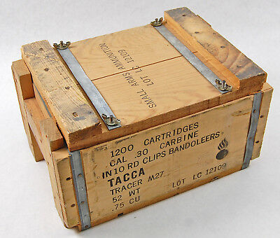 US Military Surplus Wooden Ammo Can Crate M1 30 Carbine M27 Tracer Ammunition
