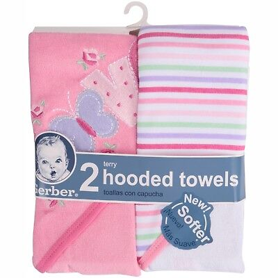 NEW WITH TAGS - Gerber Pink Butterfly/Love Hooded Towel 2 Pack - 100% Cotton
