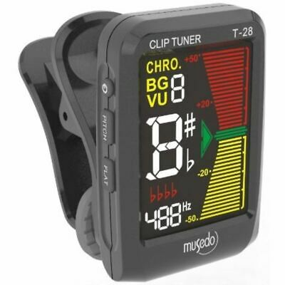 New Musedo MUS-T-28BK Color LCD Clip-on Chromatic Instrument Tuner, Black