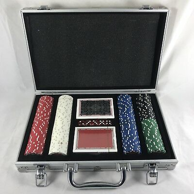 Full Vegas Poker Set Chips Dice Texas Hold'em Playing Cards Silver Aluminum Case