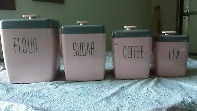1950's Vintage Plastic Melamine Canister 4 pc Set Pink and Gray Art Deco Nice!