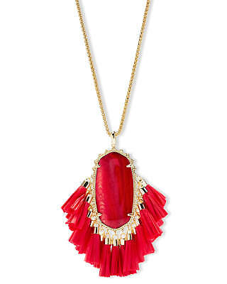 NEW KENDRA SCOTT Betsy Gold Long Pendant Necklace In Red Mother Of Pearl