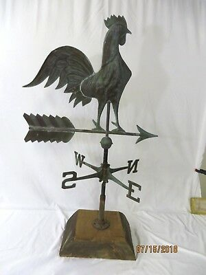 Antique Copper Rooster Weather Vane - Off Barn - All Original