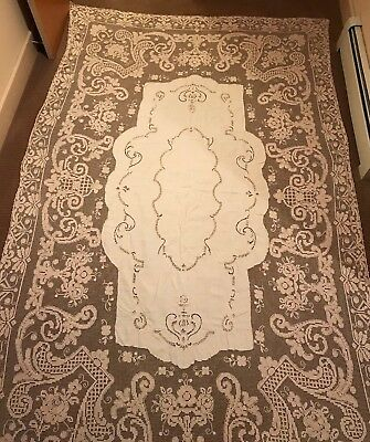 "Vintage Beige Ivory Lace Banquet Tablecloth Rectangle LARGE 104"" x 66"" NICE"