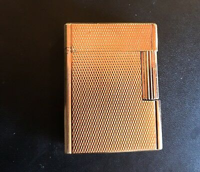 Vintage Dupont Paris Gold Plated Lighter With Leather Case