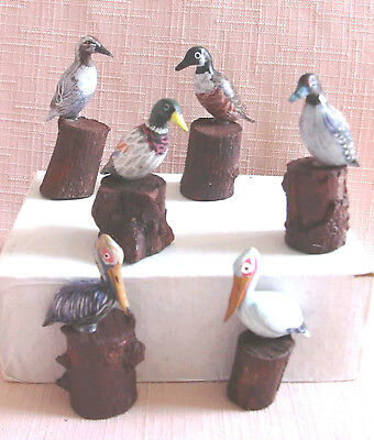 """6 Water Birds Standing On Tree Stumps , Each One is Different approx.  2 """" High"""