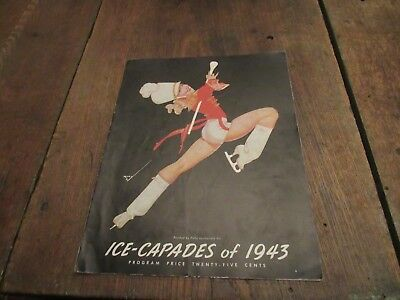 1943 Vintage  Ice-Capades Program Petty Pin-Up Figure Skating Wwii Era Skate