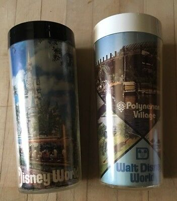 Pair Of Vintage Walt Disney World Thermo-Serv Plastic Cups 6.5""