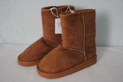 NEW Girls Winter Boots Size 12 Brown Slip On Faux Suede Shoes Soft Lined Fashion