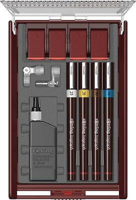Rotring Set  Isograph  4 Pens Set .25 .35 .50, .70   New In Box S0202940