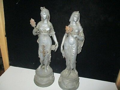 nice VICTORIAN PAIR OF CLOCK STATUES - ORIGINAL - NO ISSUES