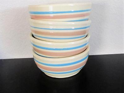 Four McCoy Stone Craft Pink and Blue Stripe Cereal Bowls