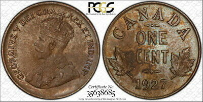 Canada 1927 Cent, Choice Uncirculated PCGS MS-63, Interesting Color