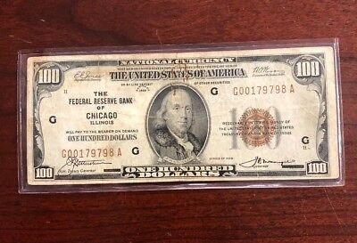 1929 $100 Federal Reserve Bank Of Chicago Illinois National Bank Note Small Size