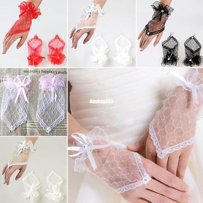 Perfect Bride Wedding Lace Bowknot Gloves For Party Evening Dancing Dress BAB4