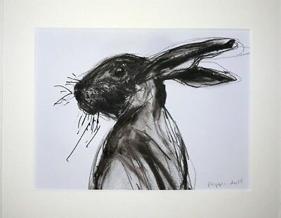 ORIGINAL ART DRAWING * CHARCOAL on  paper * RABBIT
