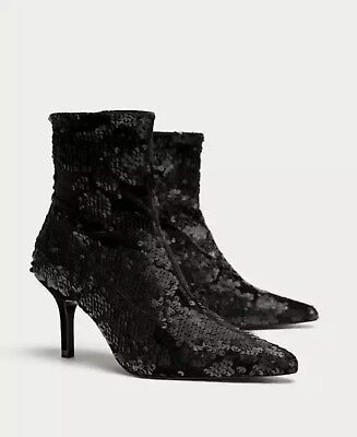 39ae5818683 Zara NWT Sequined High Heel Ankle Boots Booties SIZE US 8 EU 39 REF 6085