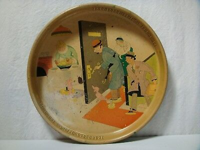 Vintage 1930s Rupperts Tin Lithograph Beer Tray Illustrator Hans Flato Whimsical
