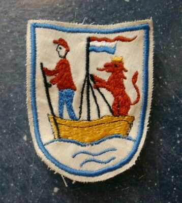 Vtg Colorful Embroidered Souvenir PATCH - Netherlands Flag, Man in Boat, Lion