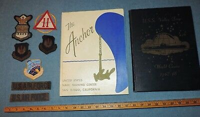 USN Navy Valley Forge Cruise Book The Anchor and WW2 Era Airforce Patches