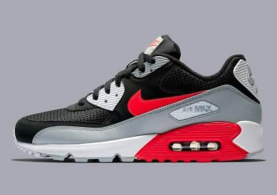 New Men's Nike Air Max 90 Essential (AJ1285-012)  Wolf Grey/Bright Crimson-Black