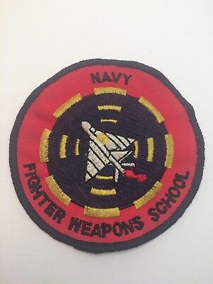 Vtg Navy Fighter Weapons School Sew On Embroidered Patch US USA USN Top Gun