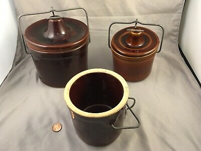 3 Stoneware Cheese Crocks Wire Bail Closures Brown Glazed Large & Small