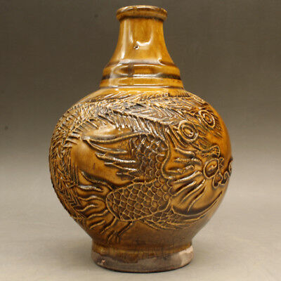 China old hand-made  porcelain yellow glaze Longfeng grain Round belly vase c02