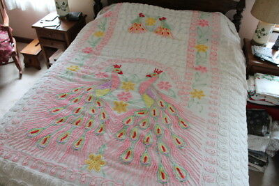 ~MSB~ Vintage Chenille Bedspread Beautiful Pink Peacock