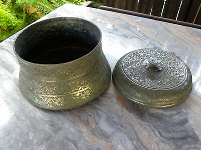 Antique Islamic - Arabic - Middle Eastern Round Covered Copper Box