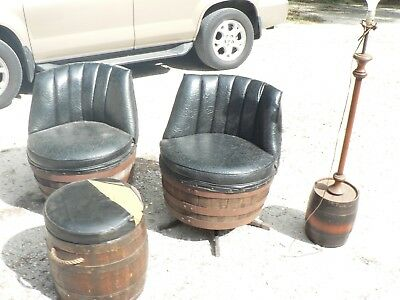 Antique Vintage Brothers Whiskey Barrel Set 4 Pieces 2 Chairs Light Autuman