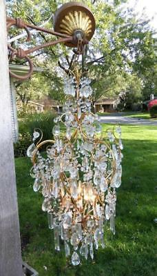 "Beautiful Vintage Italian Gold Gilt  Beaded & Crystal  3 Light Chandelier 38"" T"