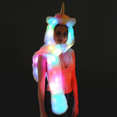 LED Unicorn Light Up Long Scarf and Gloves Set with Pockets Hat for Halloween n3