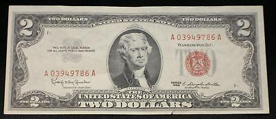 $2 1963 Two Dollar Red Seal USA Legal Tender Note Paper Money Old Jefferson Bill