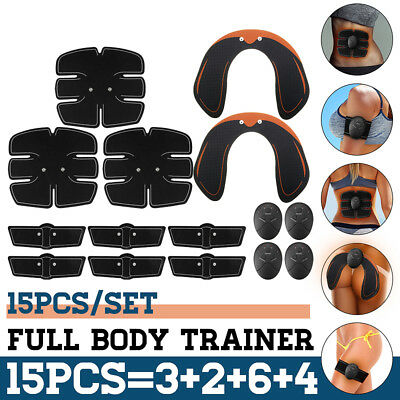 15PCS EMS Abdominal ABS Hip Muscle Training Gear Full Body Exercise Fitness Set