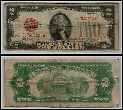 1928C $2 Dollar Bill Old Us Note Legal Tender Paper Money  Red Seal  Lot E594